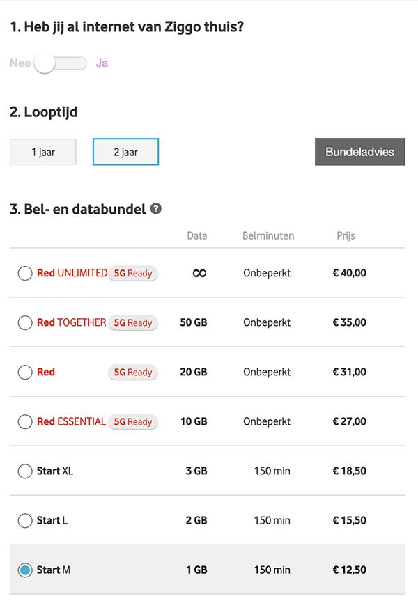 Vodafone RED-abonnementen inclusief Ziggo korting.